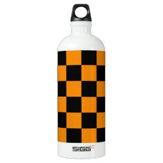 Checkered - Black and Tangerine Aluminum Water Bottle