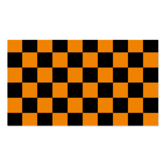 Checkered - Black and Tangerine Business Card Templates