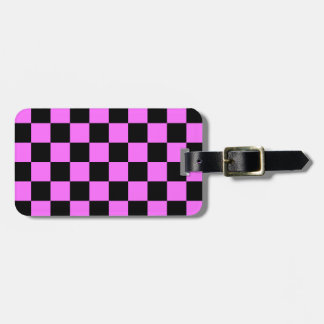 Checkered - Black and Ultra Pink Travel Bag Tag