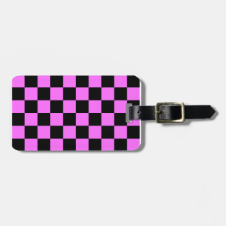 Checkered - Black and Ultra Pink Luggage Tags