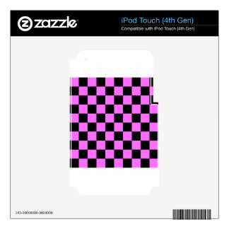 Checkered - Black and Ultra Pink Decal For iPod Touch 4G