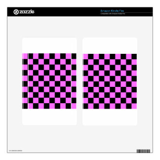 Checkered - Black and Ultra Pink Skins For Kindle Fire