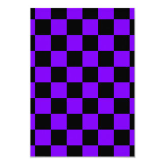 Checkered - Black and Violet 3.5x5 Paper Invitation Card