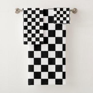 Checkered Black and White Bath Towel Set