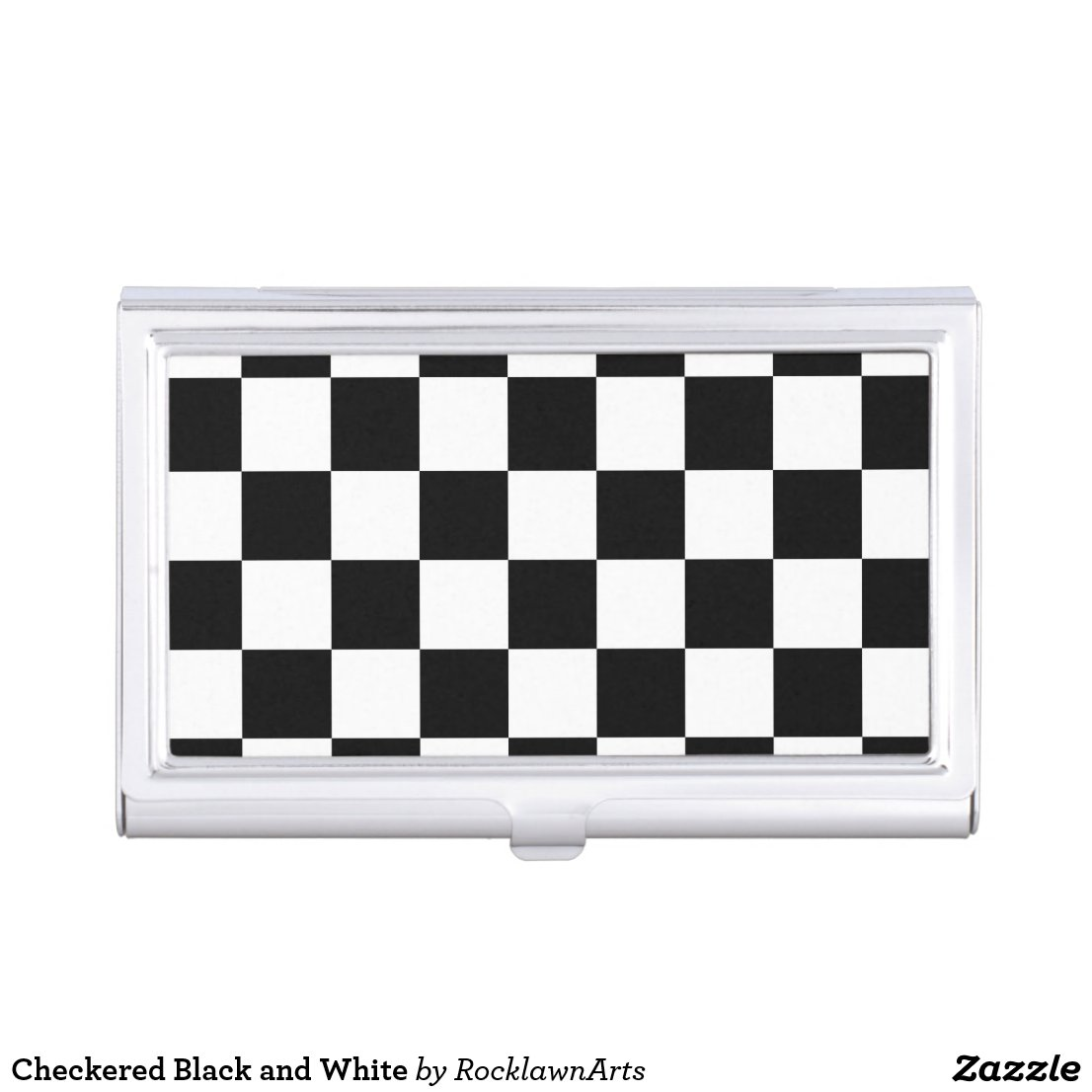 Checkered Black and White Business Card Holder