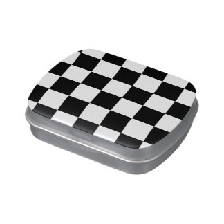 Checkered Black and White Candy Tin