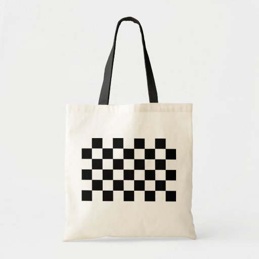 Checkered Black and White Canvas Bag