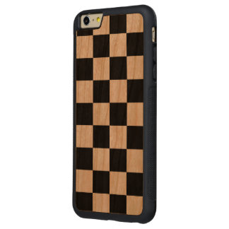 Checkered Black and White Carved® Cherry iPhone 6 Plus Bumper Case