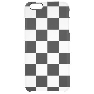 Checkered Black and White Clear iPhone 6 Plus Case