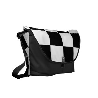 Checkered Black and White Courier Bag