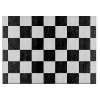 Checkered Black and White Cutting Board