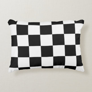 Checkered Black and White Decorative Pillow