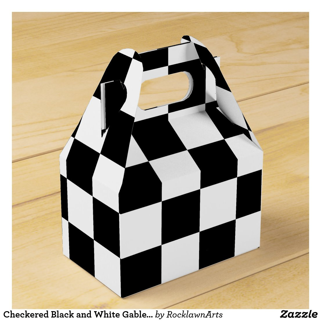 Checkered Black and White Gable Favor Box