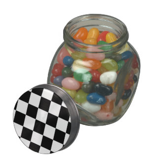 Checkered Black and White Glass Candy Jar