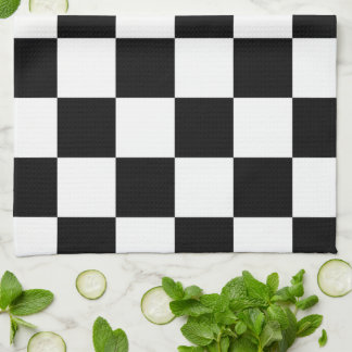 Checkered Black and White Hand Towels