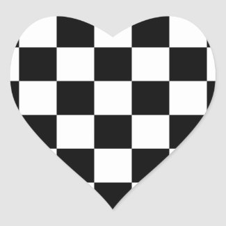 Checkered Black and White Heart Sticker