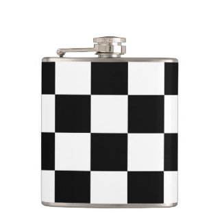 Checkered Black and White Hip Flask