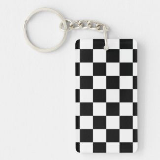 Checkered Black and White Keychain