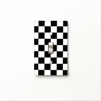 Checkered Black and White Light Switch Plate