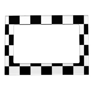 Checkered Black and White Magnetic Photo Frame