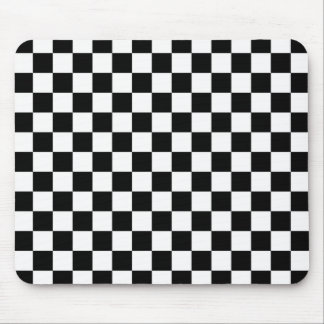 Checkered Black and White Pattern Mouse Pad