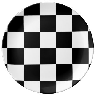 Checkered Black and White Porcelain Plate