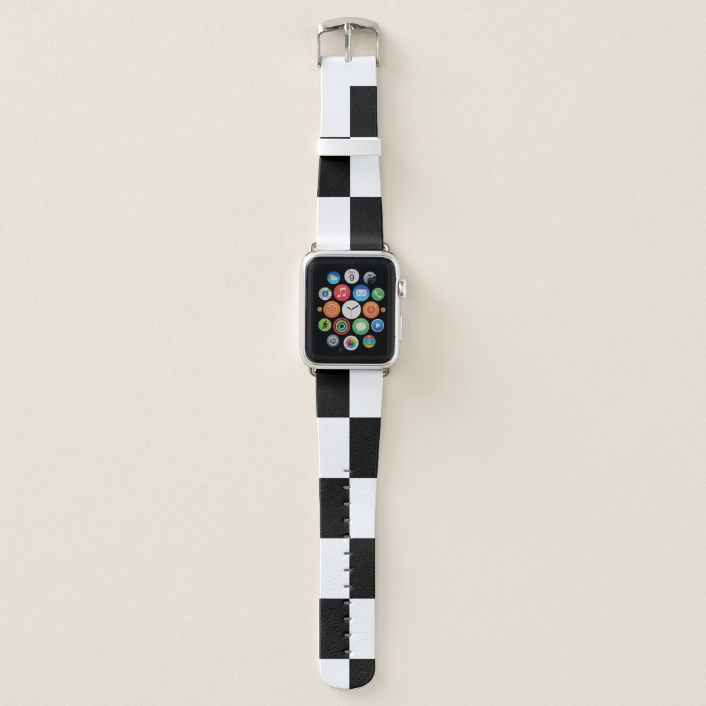 Checkered Black and White Rectangles Apple Watch Band