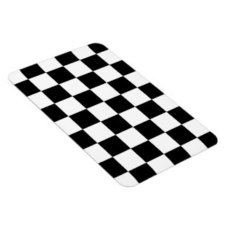 Checkered Black and White Rectangular Photo Magnet