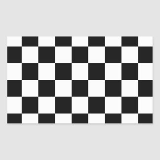 Checkered Black and White Rectangular Sticker