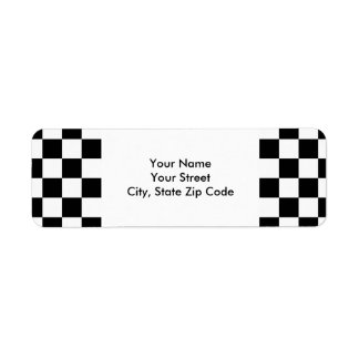 Checkered Black and White return address label
