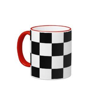 Checkered Black and White Ringer Coffee Mug