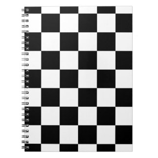 Checkered Black and White Spiral Note Book