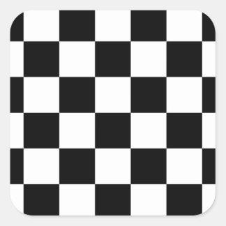 Checkered Black and White Square Sticker