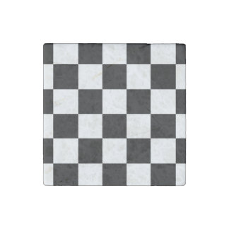 Checkered Black and White Stone Magnet
