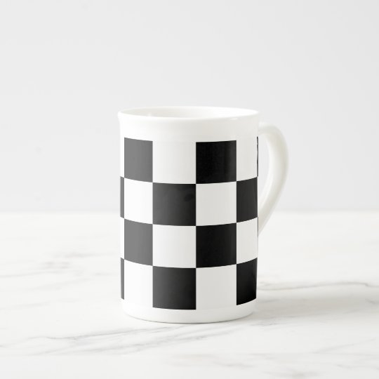Checkered Black and White Tea Cup