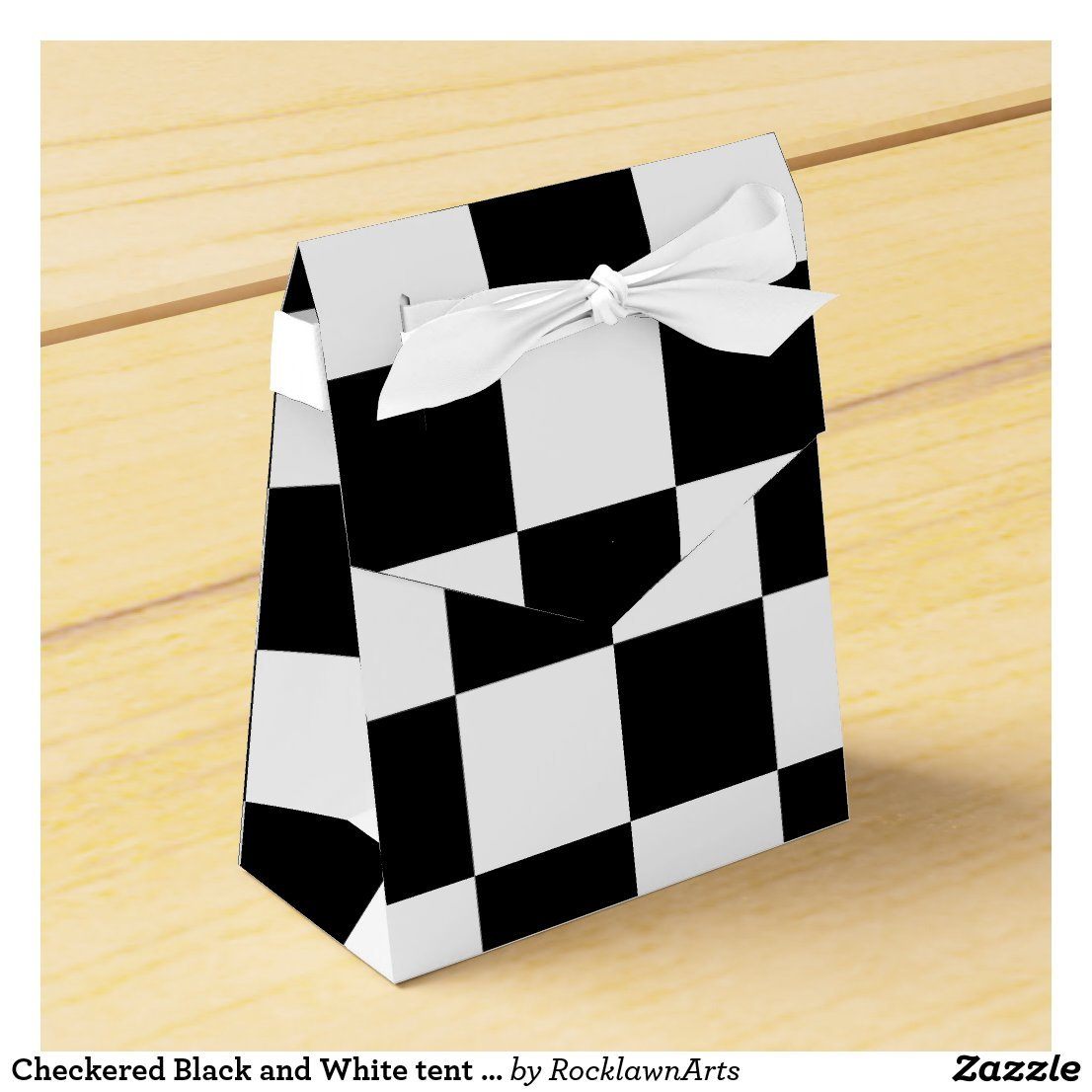 Checkered Black and White tent favor box