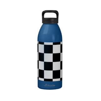 Checkered Black and White Water Bottles