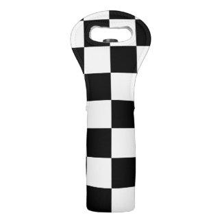 Checkered Black and White Wine Bag