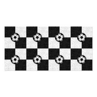 Checkered black and white with soccer balls card