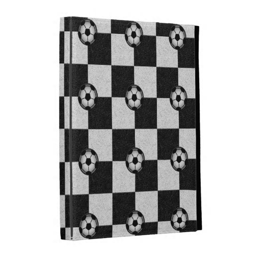 Checkered black and white with soccer balls iPad folio cover