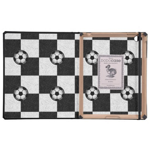 Checkered black and white with soccer balls covers for iPad