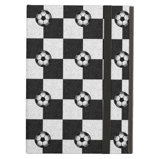 Checkered black and white with soccer balls cover for iPad air