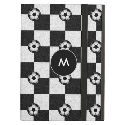 Checkered black and white with soccer balls iPad air case