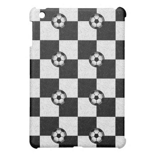 Checkered black and white with soccer balls iPad mini cases