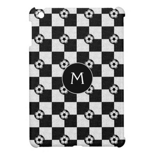 Checkered black and white with soccer balls iPad mini covers