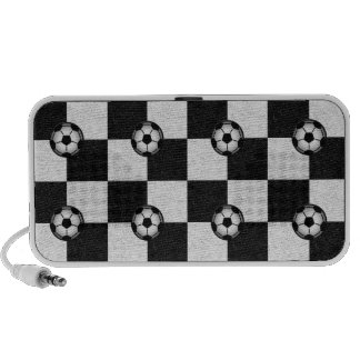 Checkered black and white with soccer balls iPhone speaker