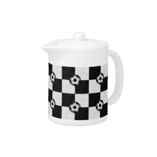 Checkered black and white with soccer balls teapot
