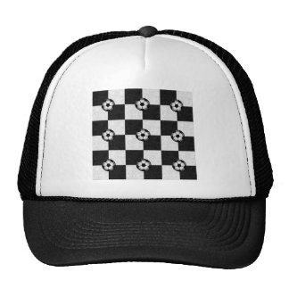 Checkered black and white with soccer balls trucker hat