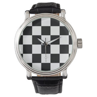 Checkered Black and White Wristwatch