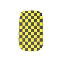 Checkered Black and Yellow Minx Nail Art